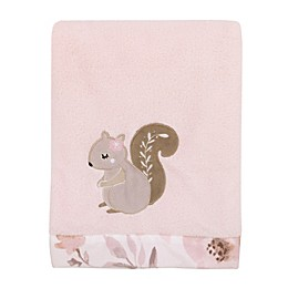 NoJo® Countryside Floral Squirrel Stroller Blanket in Pink