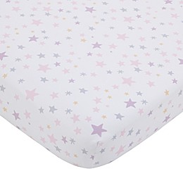 Little Love by NoJo Shine On My Love Celestial Fitted Crib Sheet in Pink