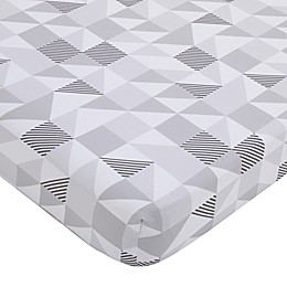 Little Love By NoJo Geometric Polyester Fitted Crib Sheet in Blue