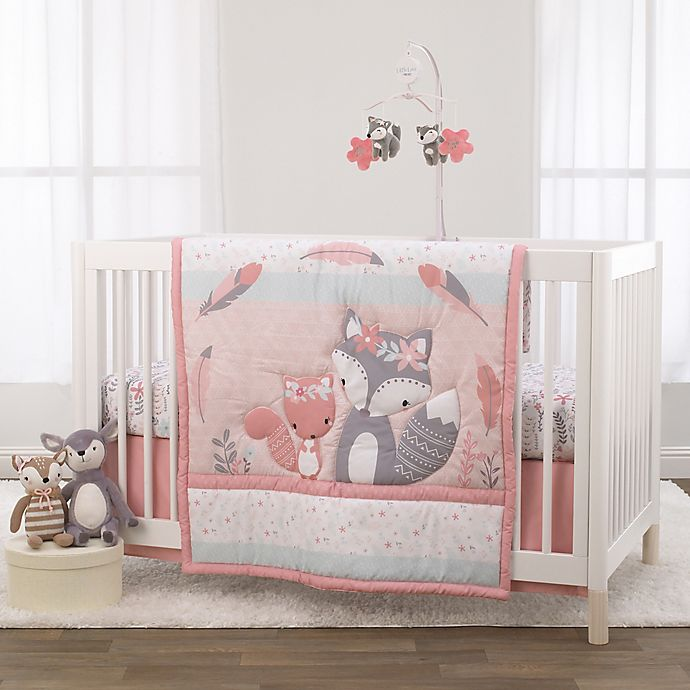 Alternate image 1 for Little Love by NoJo® Desert Flower Fox 3-Piece Crib Bedding Set in Pink