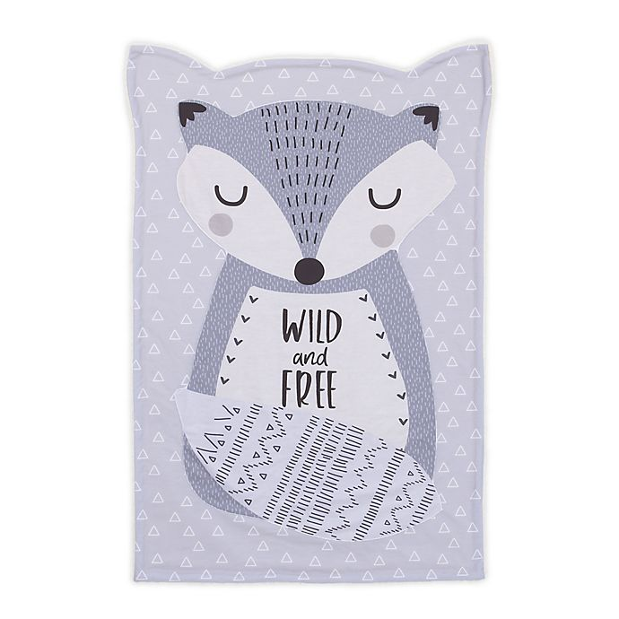 Alternate image 1 for Little Love by NoJo Fox Shaped Polyester Baby Blanket in Grey