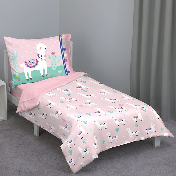 Alternate image 1 for Everything Kids by Nojo Mint Llama 4-Piece Toddler Comforter Set in Pink