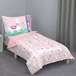 Everything Kids by Nojo Mint Llama 4-Piece Toddler Comforter Set in Pink