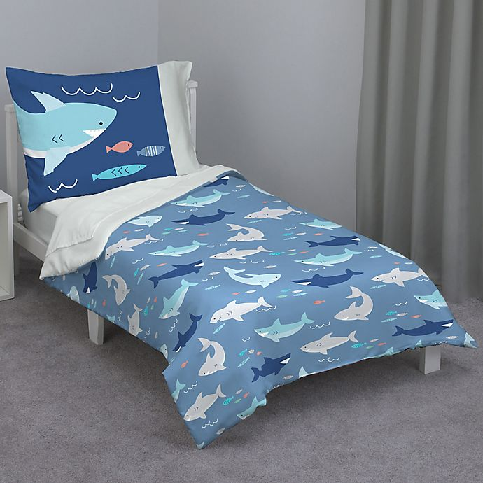 Alternate image 1 for Everything Kids By NoJo 4-Piece Blue Shark Toddler Bedding Set in Navy