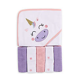 Luvable Friends® 6-Piece Unicorn Hooded Towel and Washcloth Set in Pink