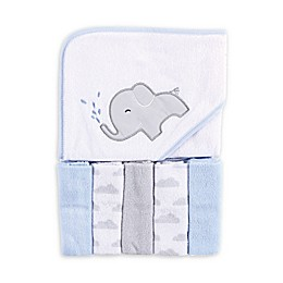 Luvable Friends® 6-Piece Elephant Hooded Towel and Washcloth Set in Blue