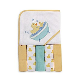 Luvable Friends® 6-Piece Rubber Duck Hooded Towel and Washcloth Set in Yellow