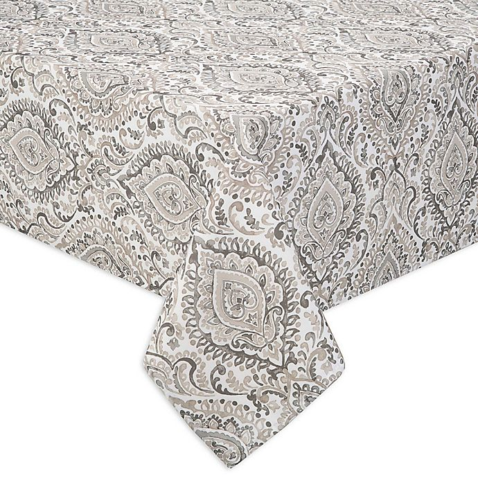 Alternate image 1 for Watercolor Damask Indoor/Outdoor Table Linen Collection