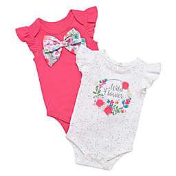 Baby Starters® Size 6M 2-Pack White Wild Flower Bodysuits