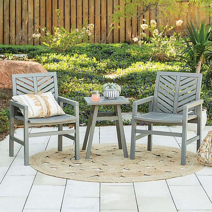 Alternate image 1 for Forest Gate Olive 3-Piece Acacia Outdoor Chat Set in Grey Wash
