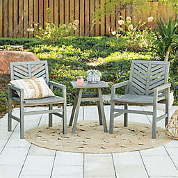 Forest Gate Olive 3-Piece Acacia Outdoor Chat Set in Grey Wash