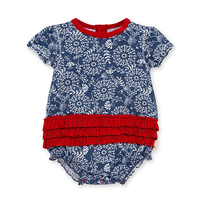 Alternate image 1 for Burt's Bees Baby® Summer Floral Art Organic Cotton Bubble Bodysuit in Blue/Red