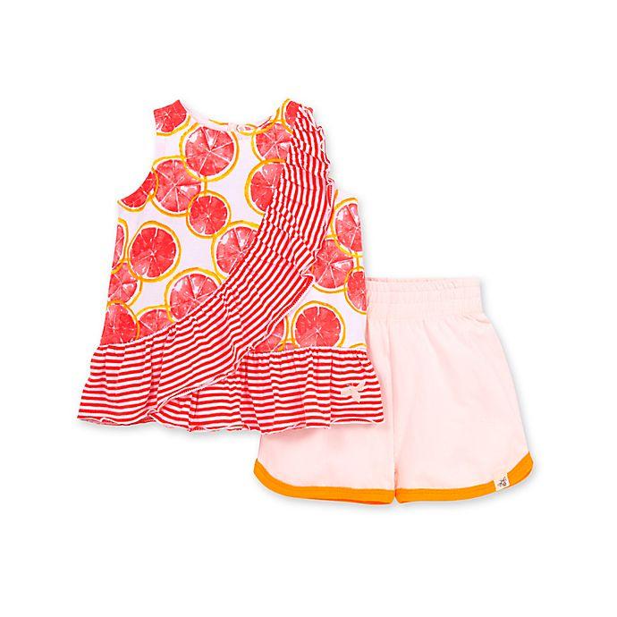 Alternate image 1 for Burt's Bees Baby® 2-Piece Watercolor Grapefruit Organic Cotton Tank and Short Set
