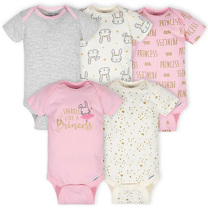 Alternate image 1 for Gerber® Onesies® 5-Pack Princess Short Sleeve Bodysuits in Pink/Ivory