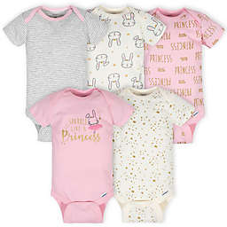 Gerber® Onesies® 5-Pack Princess Short Sleeve Bodysuits in Pink/Ivory