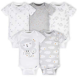 Gerber® Onesies® Newborn 5-Pack Lamb Bodysuits in Grey/White