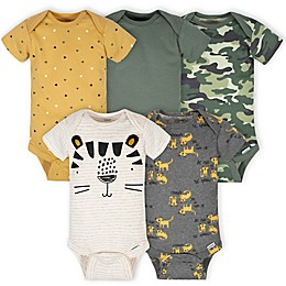 Gerber® Onesies® 5-Pack Tiger Bodysuits in Green/Gold