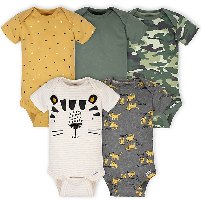 Alternate image 1 for Gerber® Onesies® Size 3-6M 5-Pack Tiger Bodysuits in Green/Gold