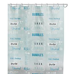 India Ink Bubble Bath 70-Inch x 72-Inch Shower Curtain in Aqua