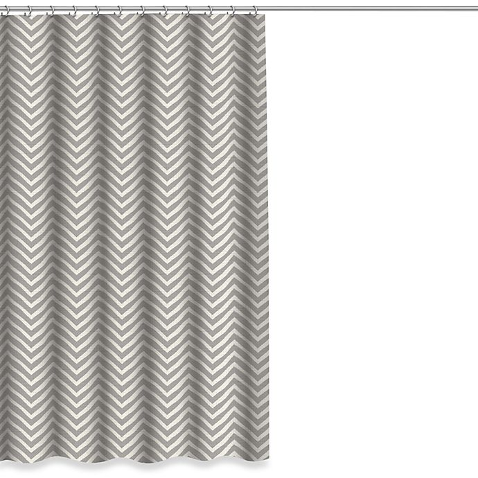 Alternate image 1 for Chevron Shower Curtain in Grey