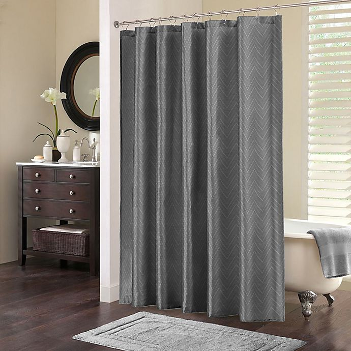 Chevi Jacquard Chevron Shower Curtain In Grey