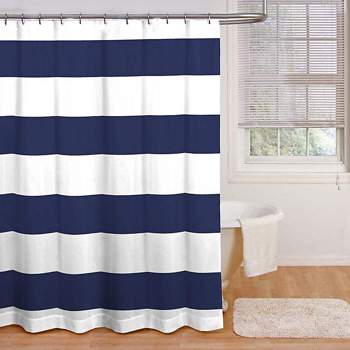 Alternate image 1 for Chase Cabana Stripe 72-Inch x 72-Inch Shower Curtain in Navy/White