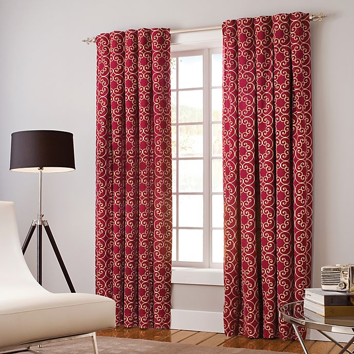 Alternate image 1 for Designer's Select Claudia 84-Inch Back Tab Window Curtain Panel in Red