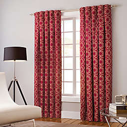 Designer's Select Claudia 63-Inch Back Tab Window Curtain Panel in Red