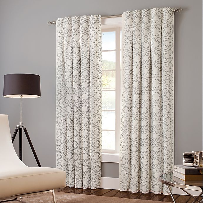 Alternate image 1 for Designer's Select Claudia 63-Inch Back Tab Window Curtain Panel in White/Grey