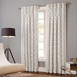 Designer's Select Claudia 63-Inch Back Tab Window Curtain Panel in White/Grey