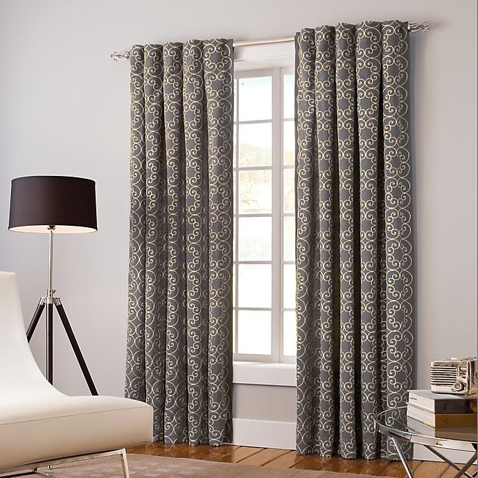 Alternate image 1 for Designer's Select Claudia 63-Inch Back Tab Window Curtain Panel in Pewter