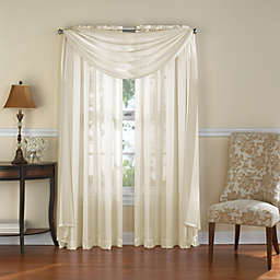 Venetian Stripe Rod Pocket Sheer Window Curtain Panel in Ivory