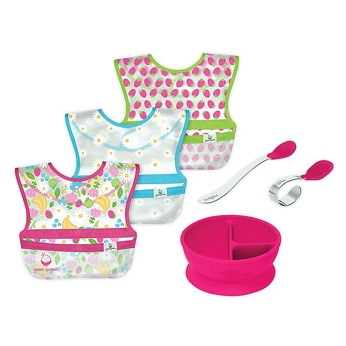 Alternate image 1 for green sprouts® 6-Piece Bibs, Learning Bowl, and Spoons Set