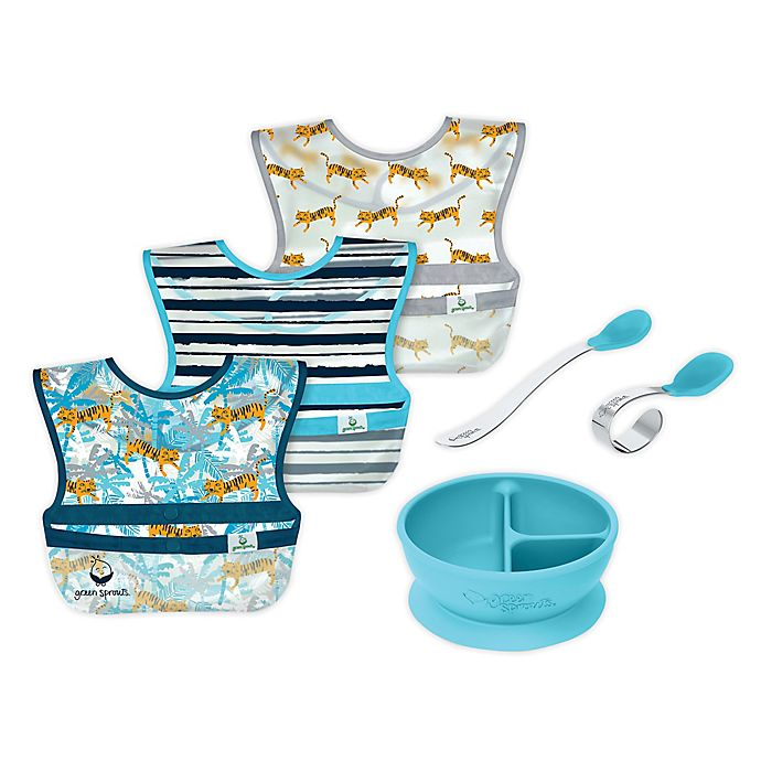 Alternate image 1 for green sprouts® 6-Piece Bibs, Learning Bowl, and Spoons Set in Aqua