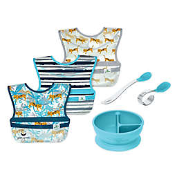green sprouts® 6-Piece Bibs, Learning Bowl, and Spoons Set in Aqua