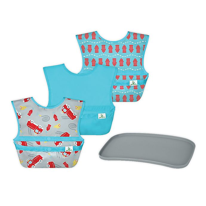 Alternate image 1 for green sprouts® 4-Piece Bibs and Platemat Set in Grey/Aqua