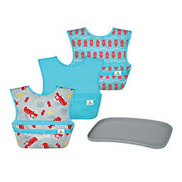 green sprouts® 4-Piece Bibs and Platemat Set in Grey/Aqua