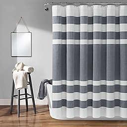 Lush Decor 72-Inch x 72-Inch Cape Cod Stripe Shower Curtain in Navy
