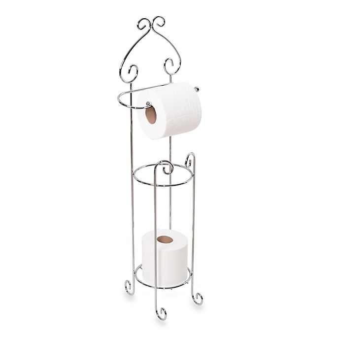 Scroll Toilet Paper Stand And Reserve Holder In Satin Nickel Bed