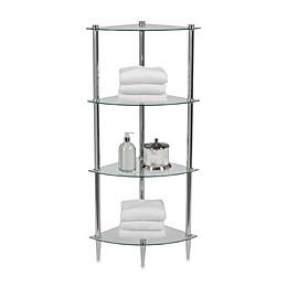 Creative Bath L'Etager 4-Shelf Glass Corner Tower in Chrome