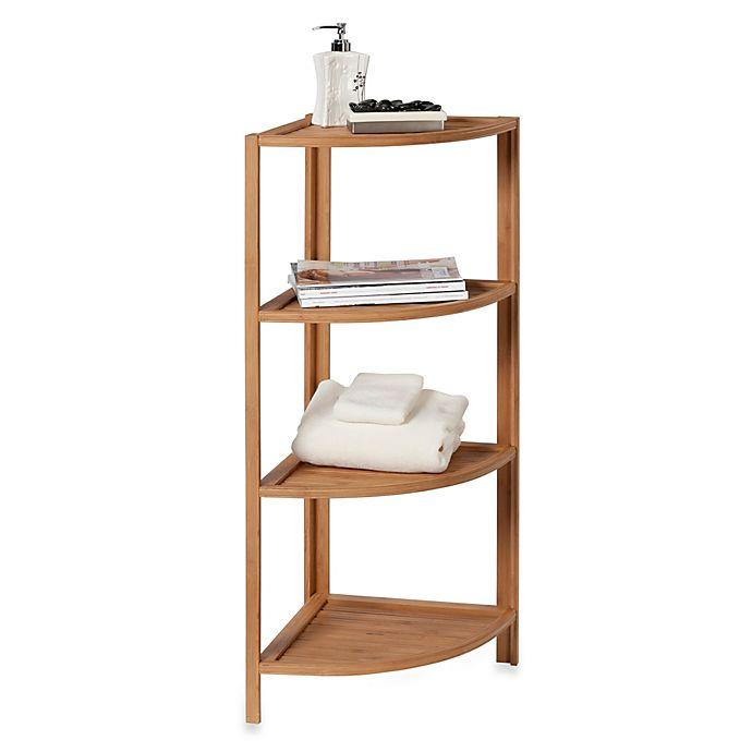 Alternate image 1 for EcoStyles 4-Shelf Bamboo Corner Tower