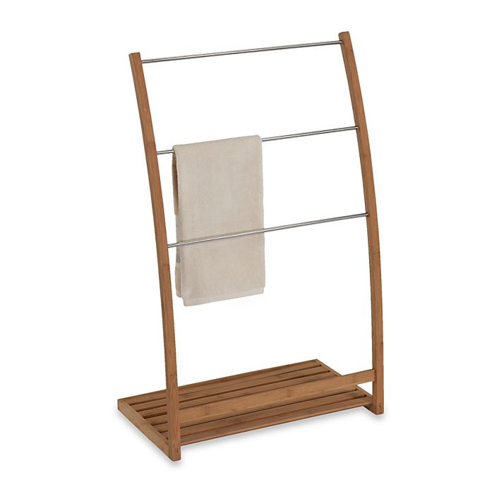 Alternate image 1 for EcoStyles Bamboo Free Standing Towel Stand