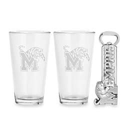 Arthur Court Designs University of Memphis Pub Glass and Bottle Opener Set