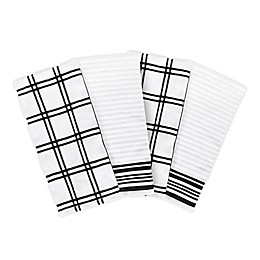 KitchenSmart® Colors 2 Plaid Kitchen Towel Set in Black (Set of 4)