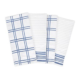 KitchenSmart® Colors 4-Piece Plaid Kitchen Towel Set