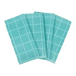 KitchenSmart® Colors 2 Solid Kitchen Towels in Teal (Set of 4)