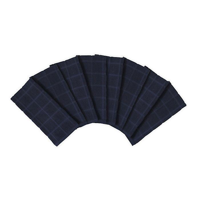 Alternate image 1 for KitchenSmart® Colors 2 Solid Kitchen Towels in Navy (Set of 8)