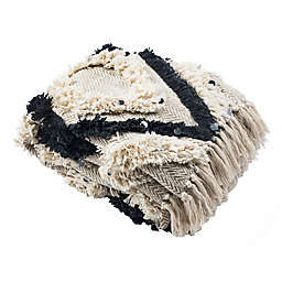 Safavieh Lilagrace Fringe Throw Blanket in Beige/Black