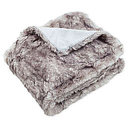 Safavieh Faux Chinchilla Throw Blanket in Grey