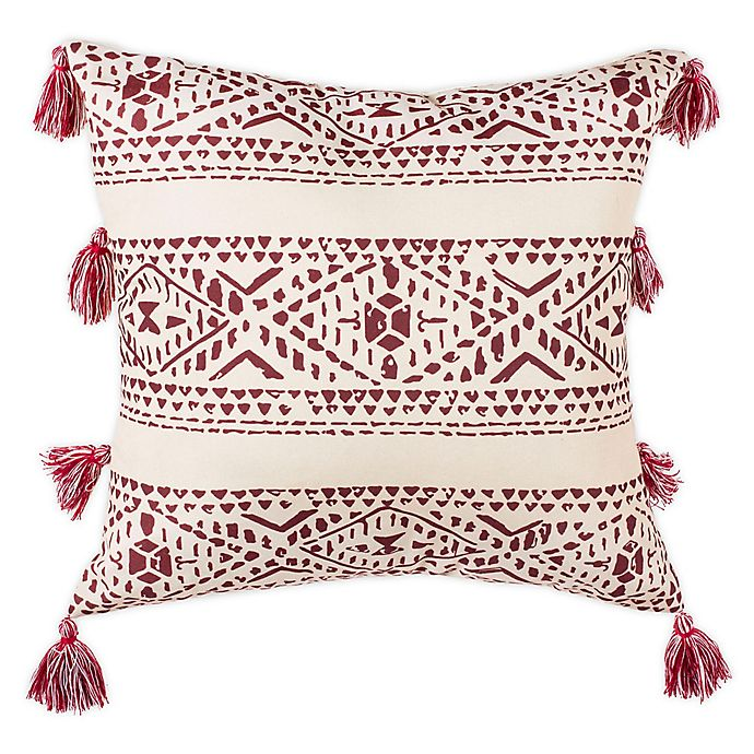 Alternate image 1 for Safavieh Landria Square Throw Pillow in Beige/Red